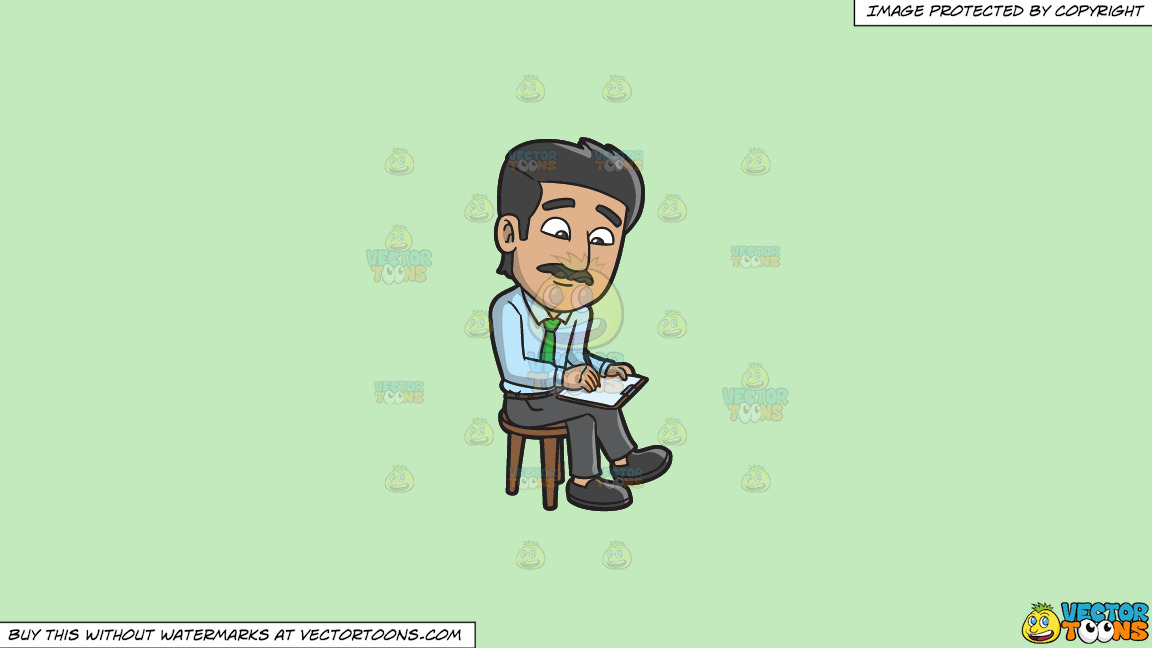 A Man Writing Down Some Important Notes On A Solid Tea Green C2eabd Background thumbnail