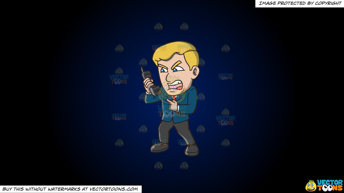 A Man Yelling At Somebody Over The Phone On A Dark Blue And Black Gradient Background thumbnail