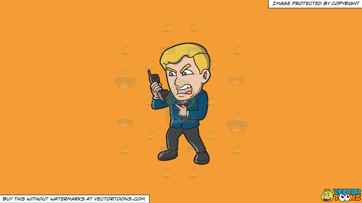 A Man Yelling At Somebody Over The Phone On A Solid Deep Saffron Gold F49d37 Background thumbnail