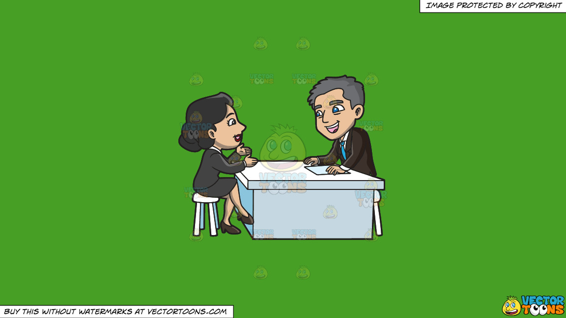 A Manager Listening To A Female Applicant On A Solid Kelly Green 47a025 Background thumbnail