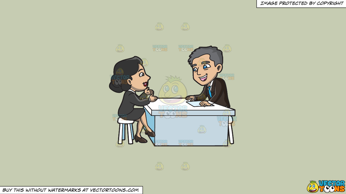 A Manager Listening To A Female Applicant On A Solid Pale Silver C6ccb2 Background thumbnail