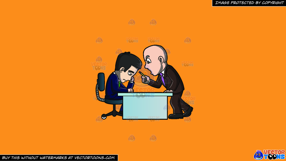 A Manager Scolding His Employee On A Solid Deep Saffron Gold F49d37 Background thumbnail