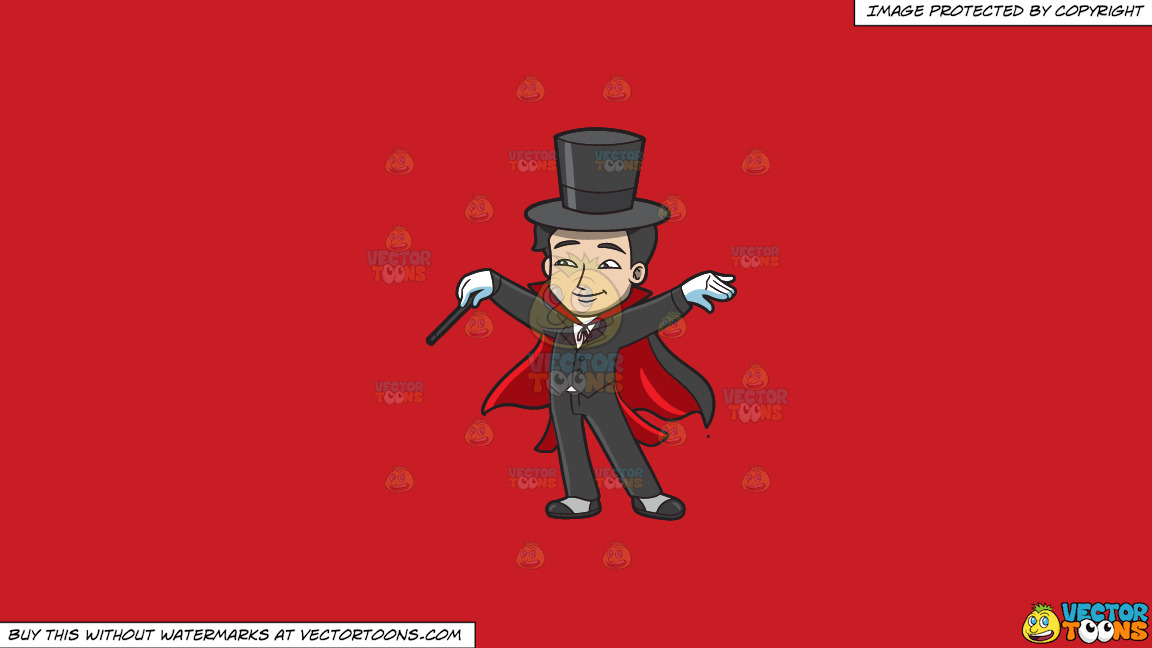 A Master Magician On A Solid Fire Engine Red C81d25 Background thumbnail