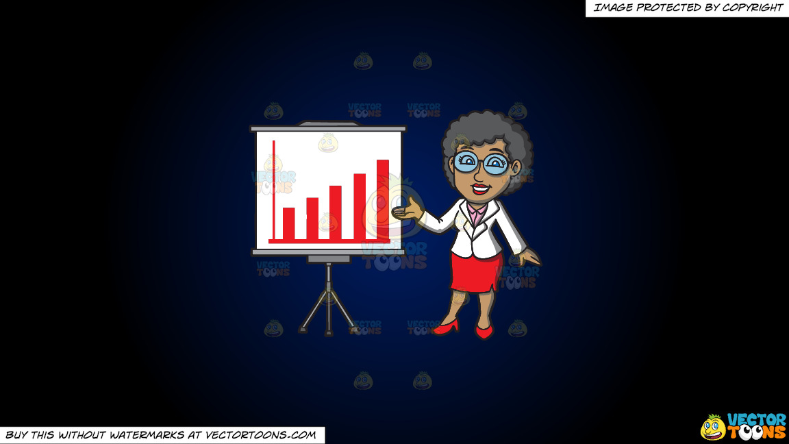 A Mature Black Businesswoman On A Dark Blue And Black Gradient Background thumbnail