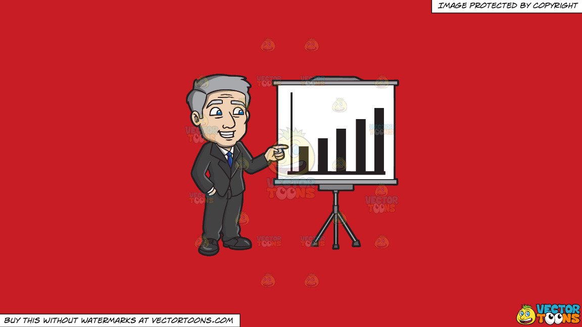 A Mature Businessman Presenting A Chart On A Solid Fire Engine Red C81d25 Background thumbnail