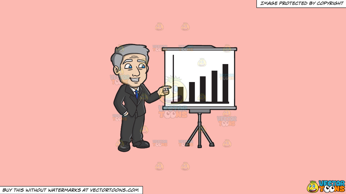 A Mature Businessman Presenting A Chart On A Solid Melon Fcb9b2 Background thumbnail