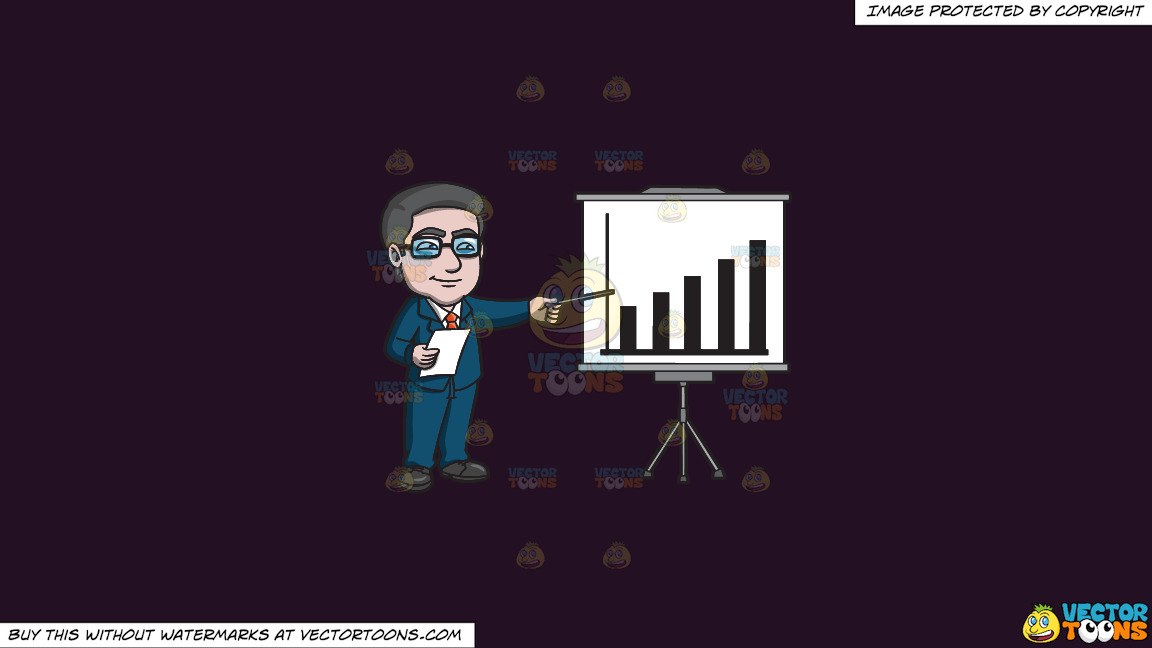 A Mature Businessman Presenting A Graph On A Solid Purple Rasin 241023 Background thumbnail