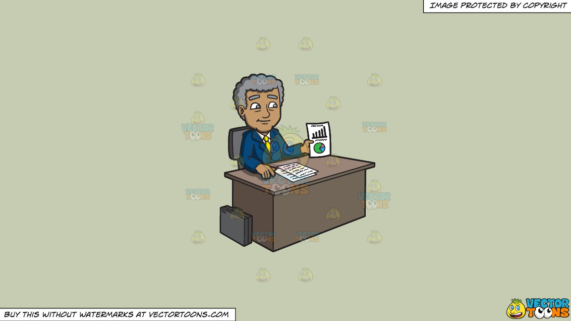 A Mature Businessman Showing A Chart On Paper On A Solid Pale Silver C6ccb2 Background thumbnail