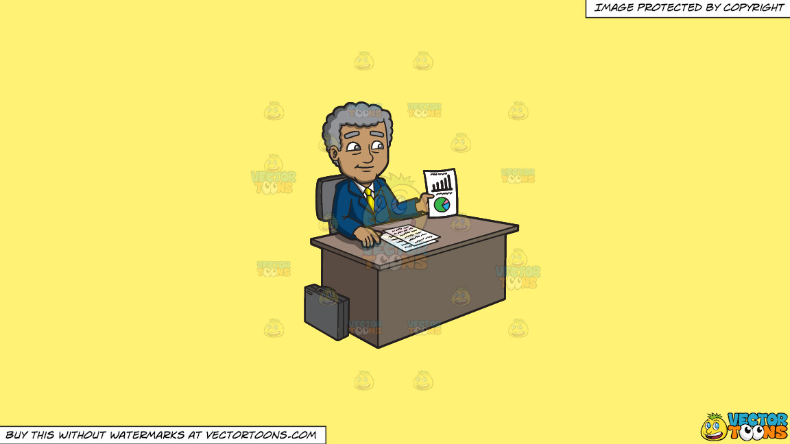 A Mature Businessman Showing A Chart On Paper On A Solid Sunny Yellow Fff275 Background thumbnail