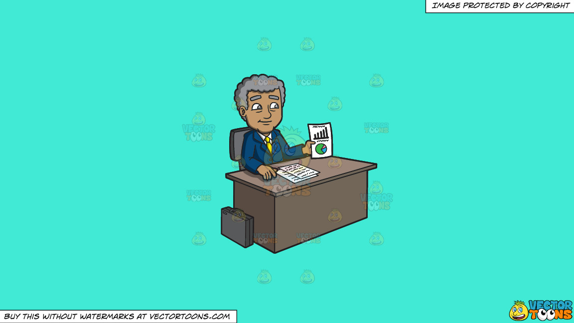 A Mature Businessman Showing A Chart On Paper On A Solid Turquiose 41ead4 Background thumbnail