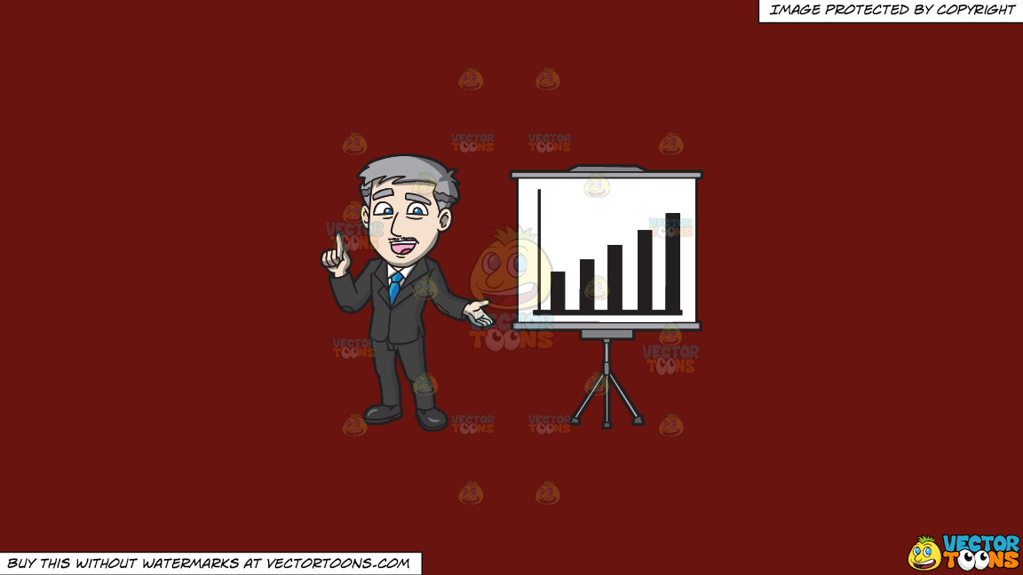 A Mature Businessman Showing A Performance Chart On A Solid Maroon 69140e Background thumbnail