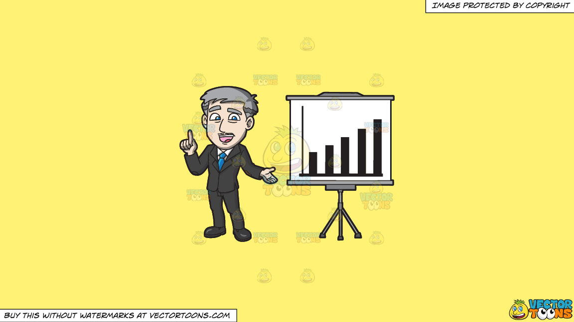 A Mature Businessman Showing A Performance Chart On A Solid Sunny Yellow Fff275 Background thumbnail
