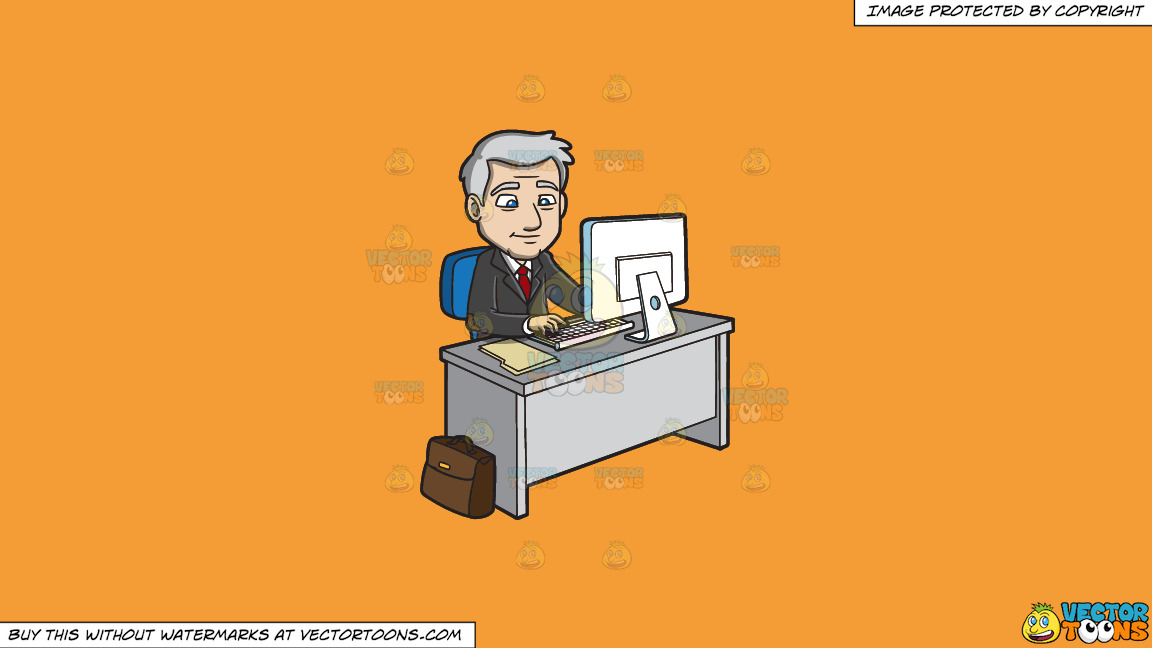 A Mature Businessman Surfing The Internet On A Solid Deep Saffron Gold F49d37 Background thumbnail