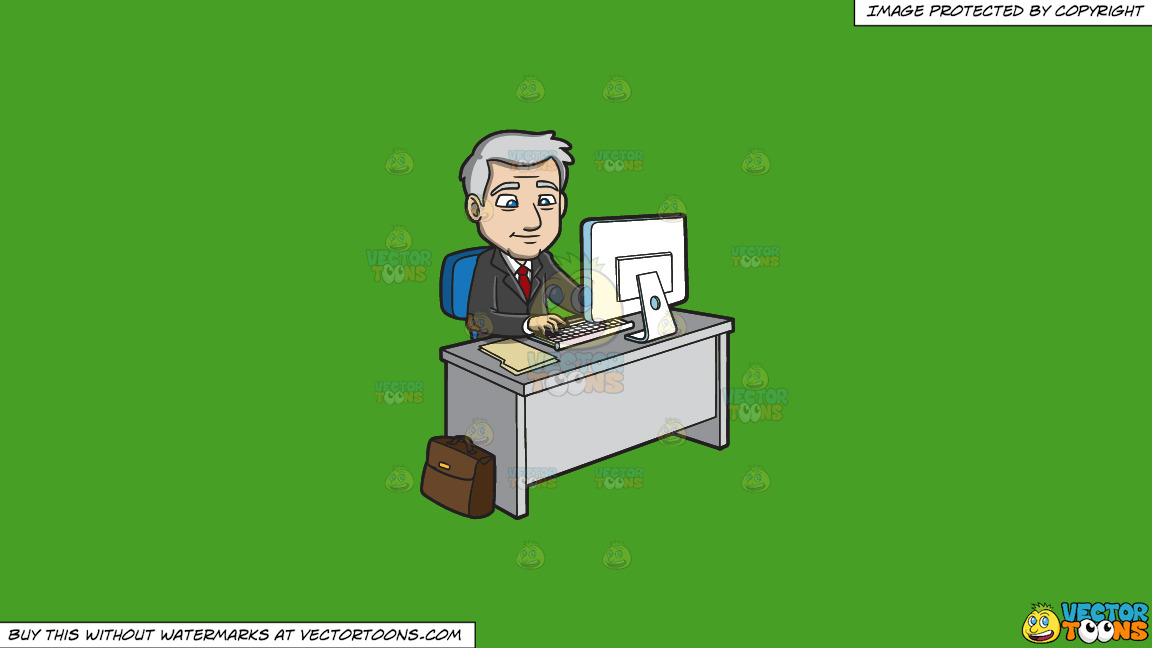 A Mature Businessman Surfing The Internet On A Solid Kelly Green 47a025 Background thumbnail