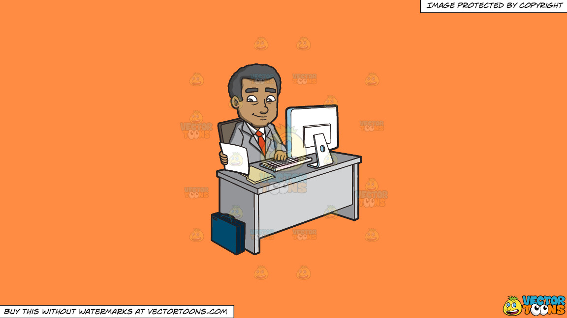 A Mature Businessman Typing Notes Using A Computer On A Solid Mango Orange Ff8c42 Background thumbnail