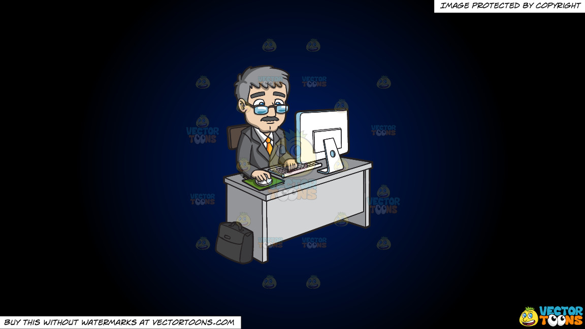 A Mature Businessman Using The Computer On A Dark Blue And Black Gradient Background thumbnail