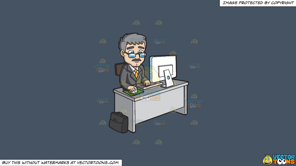 A Mature Businessman Using The Computer On A Solid Metal Grey 465362 Background thumbnail