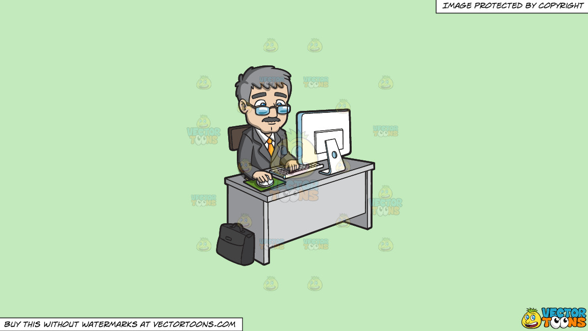 A Mature Businessman Using The Computer On A Solid Tea Green C2eabd Background thumbnail