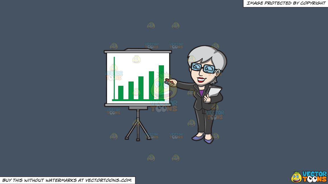 A Mature Businesswoman Explaining A Graph During A Presentation On A Solid Metal Grey 465362 Background thumbnail