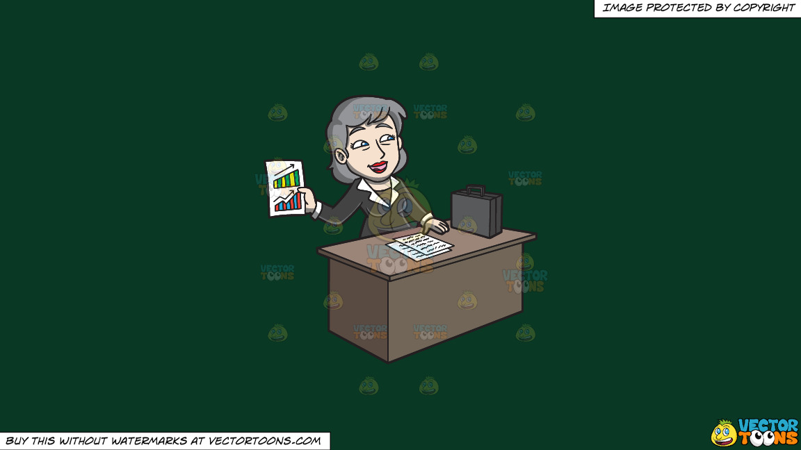 A Mature Businesswoman Explaining Performance Of Their Company On A Solid Dark Green 093824 Background thumbnail