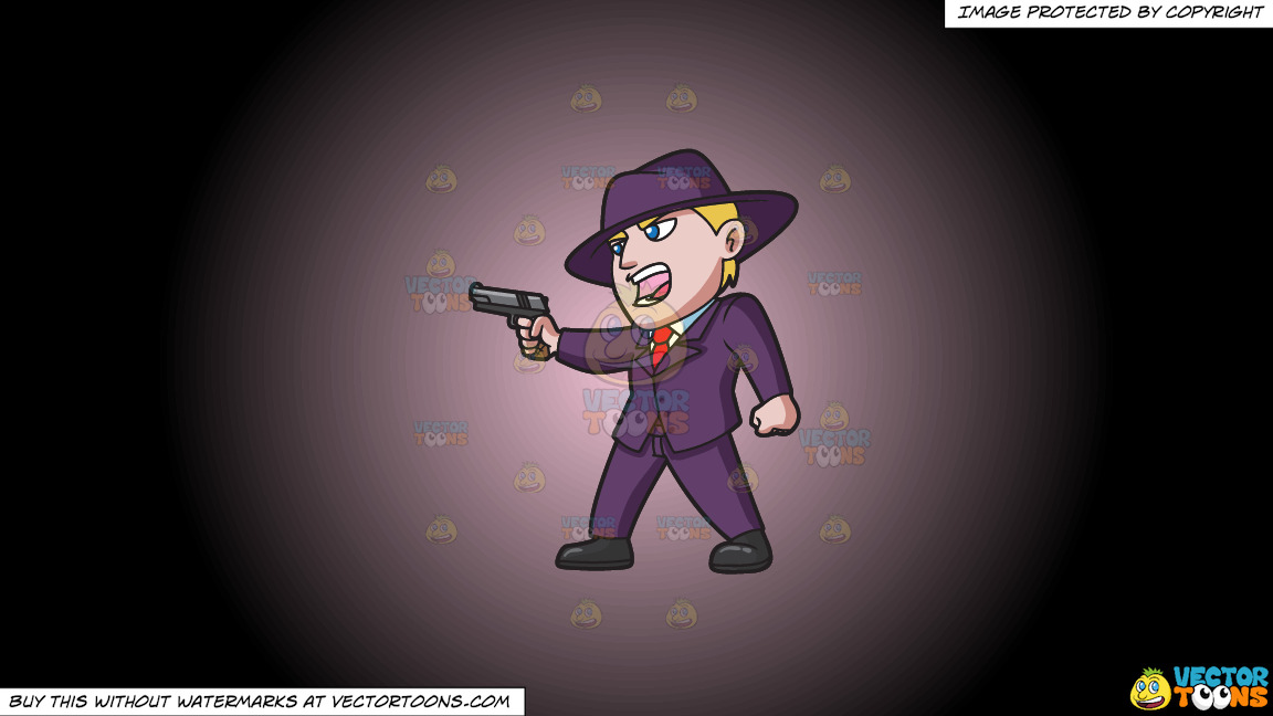 A Member Of The Mob Starting A Gun Fight On A Pink And Black Gradient Background thumbnail