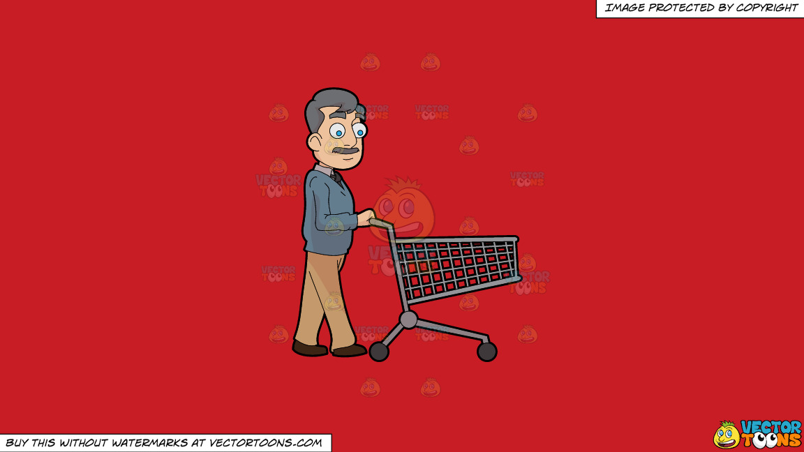 A Middle Age Man Pushing An Empty Grocery Cart On A Solid Fire Engine Red C81d25 Background thumbnail