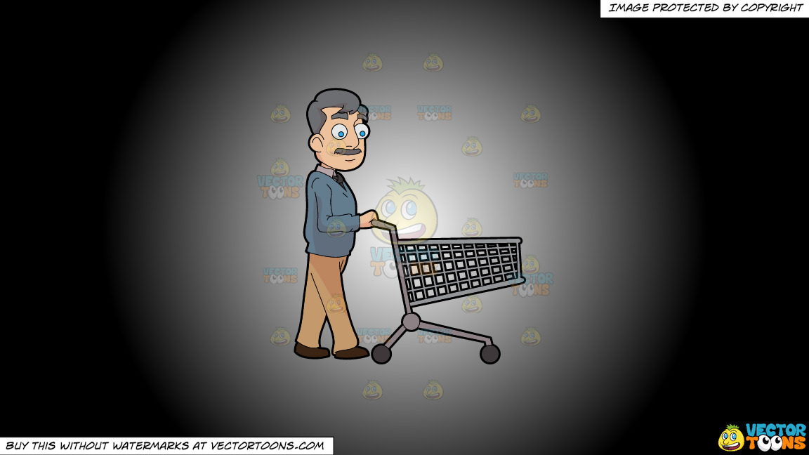 A Middle Age Man Pushing An Empty Grocery Cart On A White And Black Gradient Background thumbnail