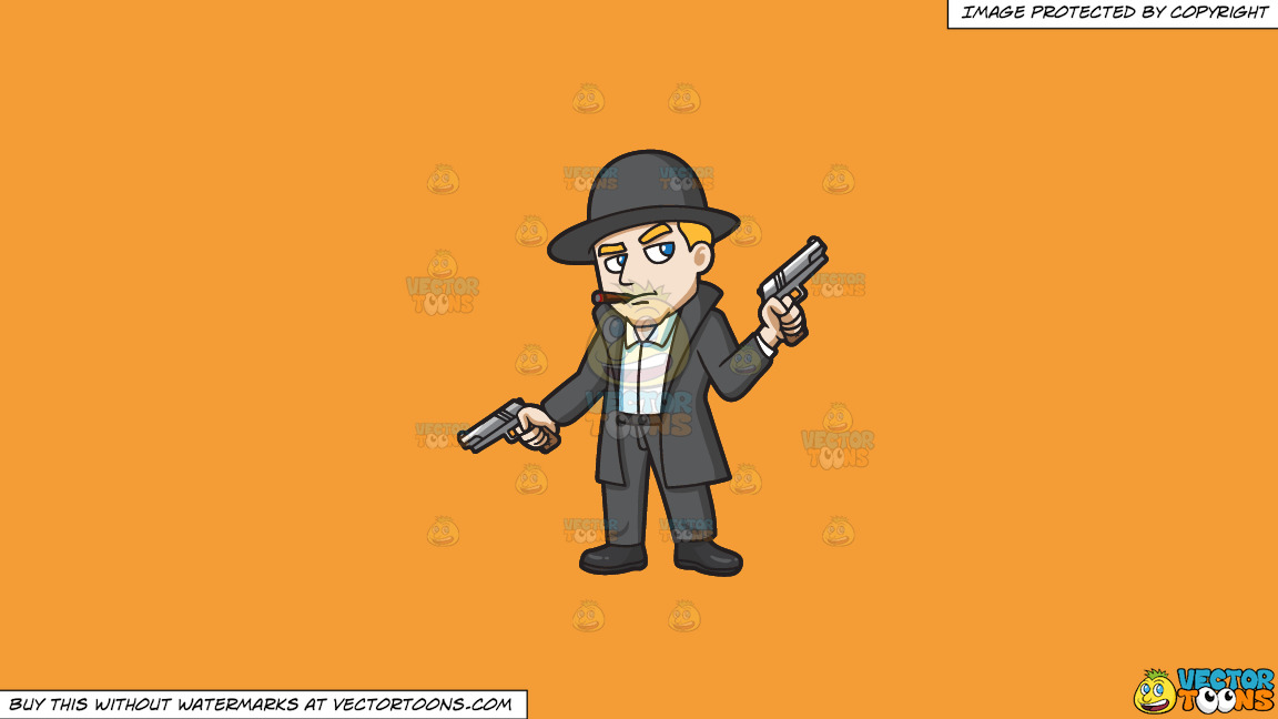 A Mobster Holding Hand Guns In Both Hands On A Solid Deep Saffron Gold F49d37 Background thumbnail