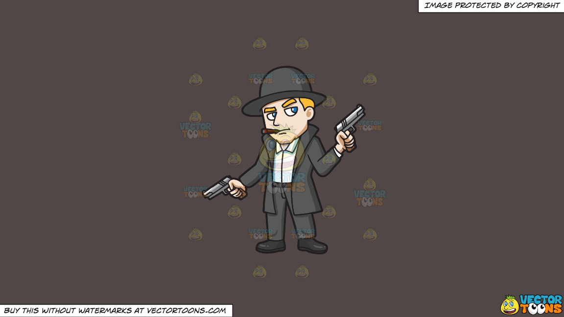 A Mobster Holding Hand Guns In Both Hands On A Solid Quartz 504746 Background thumbnail