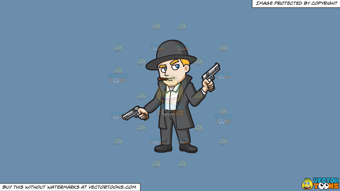 A Mobster Holding Hand Guns In Both Hands On A Solid Shadow Blue 6c8ead Background thumbnail