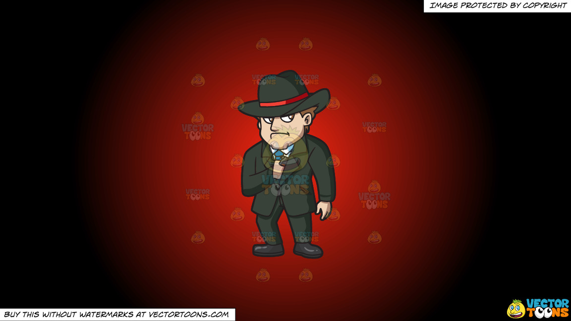 A Mobster Secretly Pulling Out A Gun On A Red And Black Gradient Background thumbnail