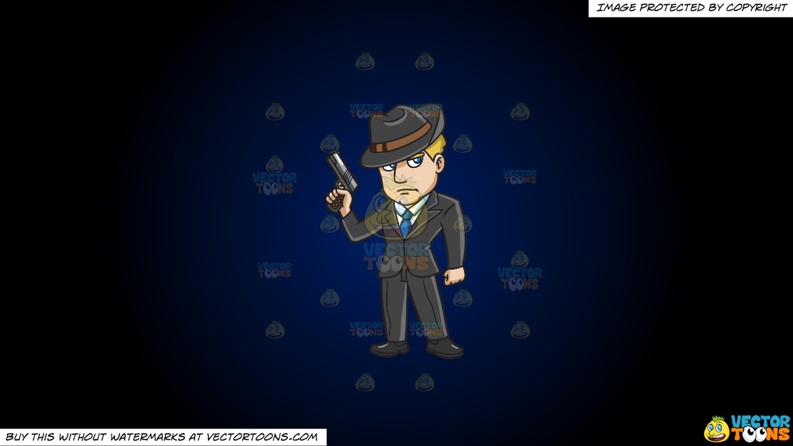 A Mobster With A Gun On A Dark Blue And Black Gradient Background thumbnail
