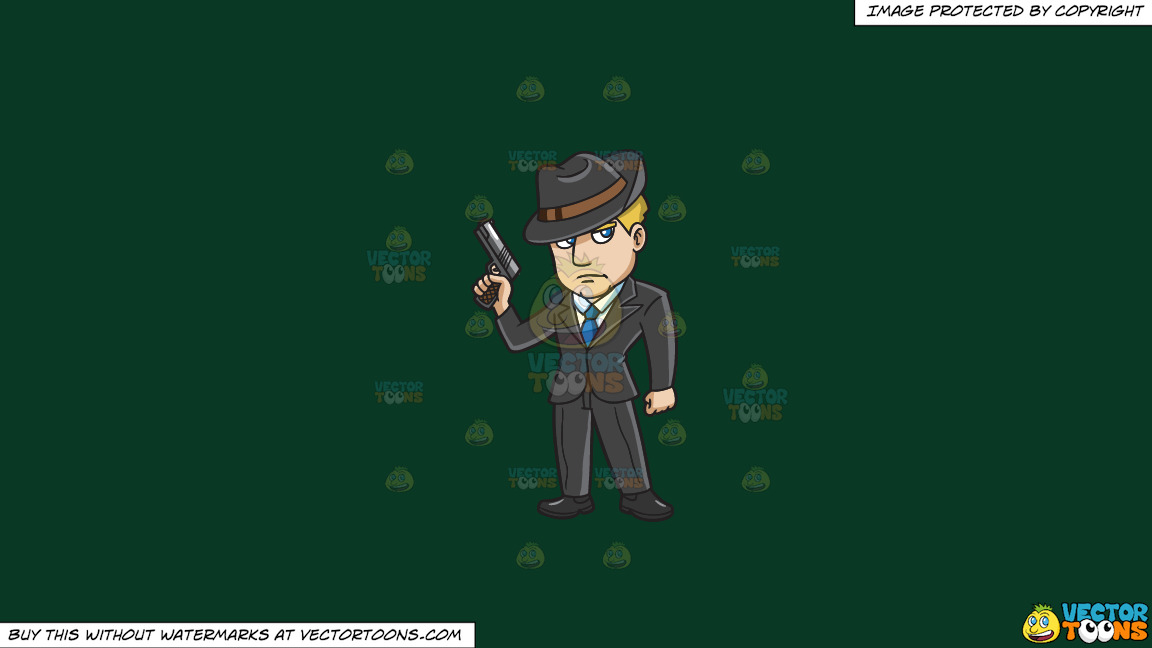 A Mobster With A Gun On A Solid Dark Green 093824 Background thumbnail