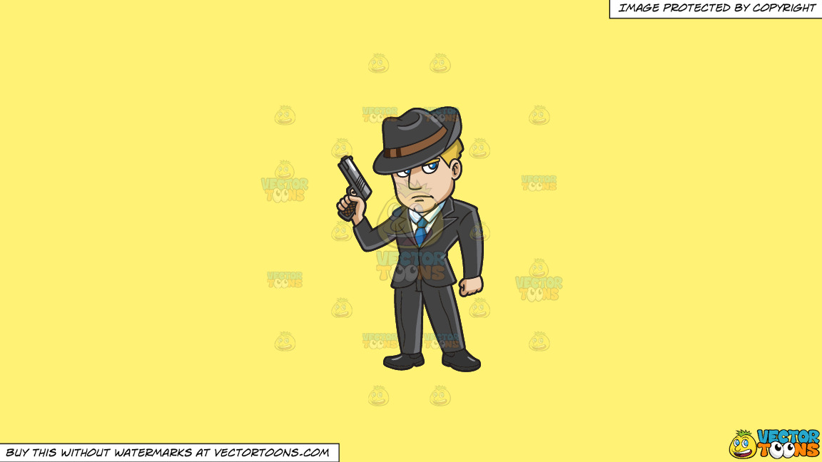 A Mobster With A Gun On A Solid Sunny Yellow Fff275 Background thumbnail
