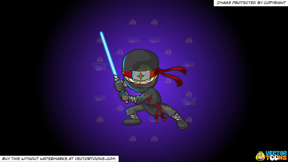 A Modern Fierce Ninja On A Purple And Black Gradient Background thumbnail