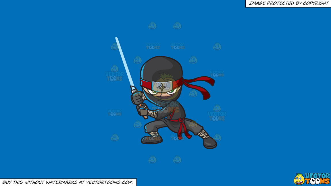 A Modern Fierce Ninja On A Solid Spanish Blue 016fb9 Background thumbnail