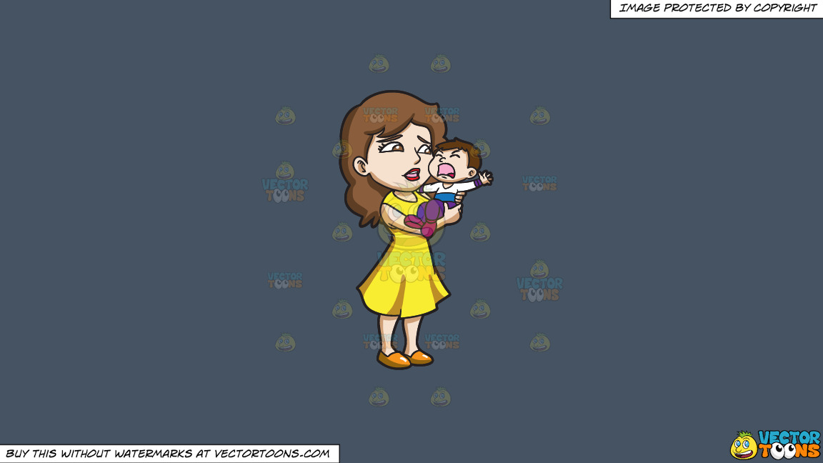 A Mom Carrying Her Crying Son On A Solid Metal Grey 465362 Background thumbnail