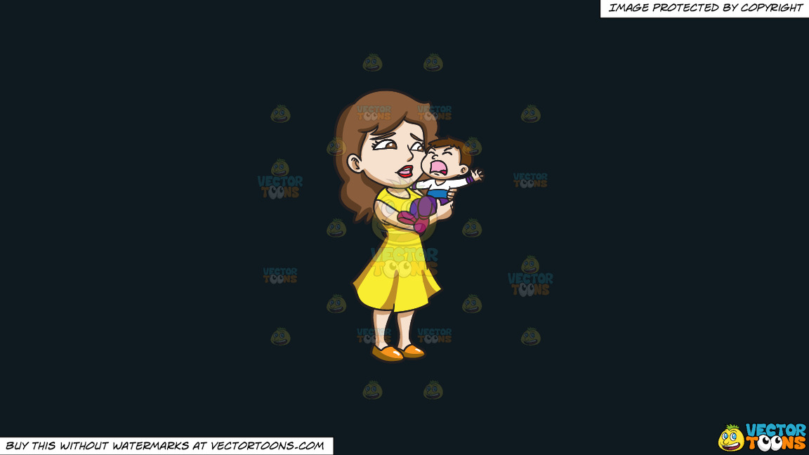 A Mom Carrying Her Crying Son On A Solid Off Black 0f1a20 Background thumbnail