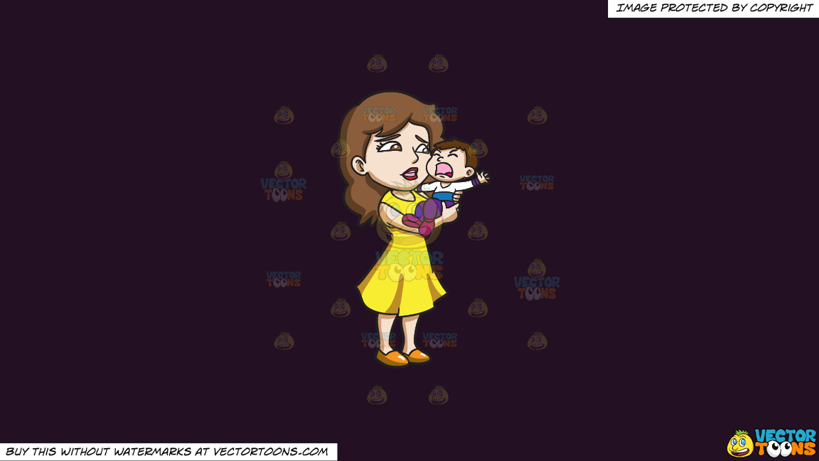 A Mom Carrying Her Crying Son On A Solid Purple Rasin 241023 Background thumbnail