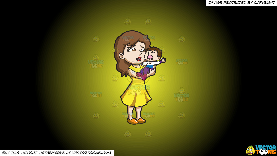 A Mom Carrying Her Crying Son On A Yellow And Black Gradient Background thumbnail