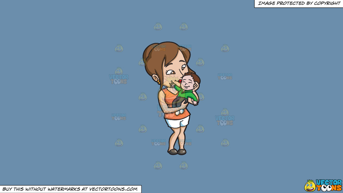 A Mom Kissing Her Smiling Baby Boy On A Solid Shadow Blue 6c8ead Background thumbnail