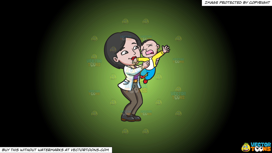 A Mom Trying To Make Her Young Son Stop From Crying On A Green And Black Gradient Background thumbnail