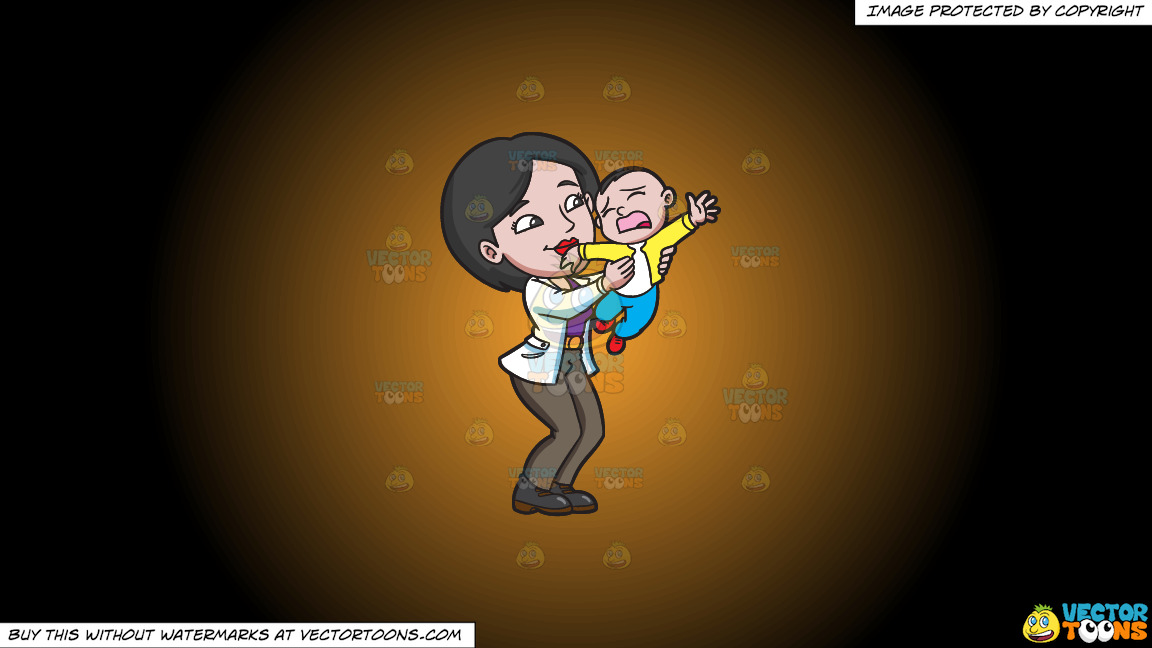 A Mom Trying To Make Her Young Son Stop From Crying On A Orange And Black Gradient Background thumbnail