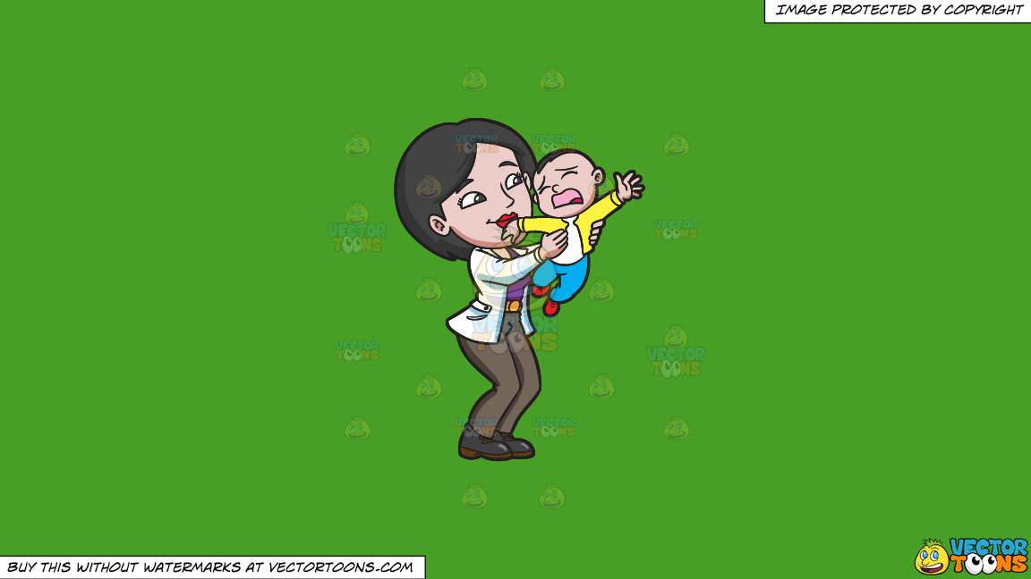 A Mom Trying To Make Her Young Son Stop From Crying On A Solid Kelly Green 47a025 Background thumbnail
