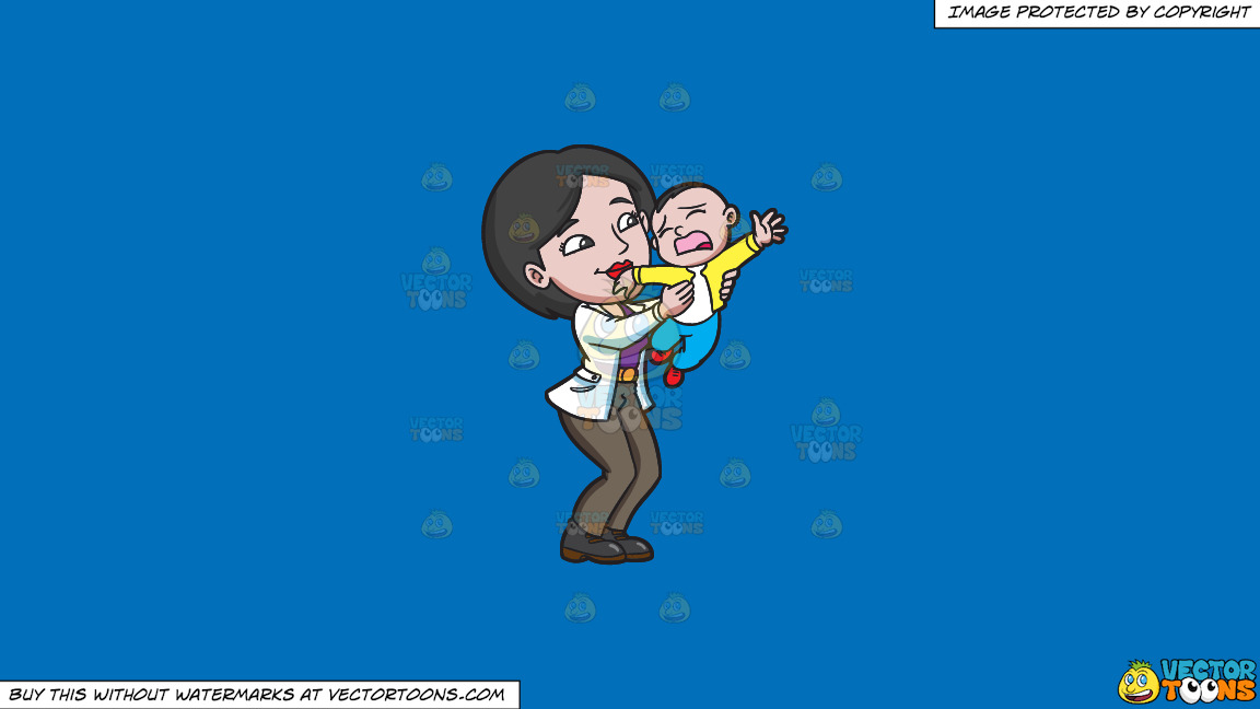 A Mom Trying To Make Her Young Son Stop From Crying On A Solid Spanish Blue 016fb9 Background thumbnail