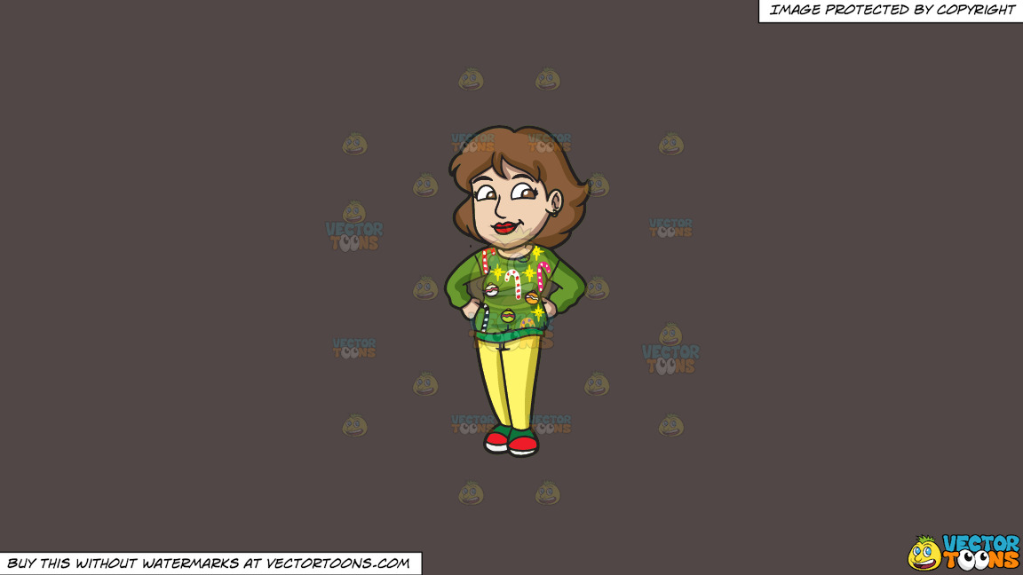 A Mom Wearing An Ugly Holiday Sweater On A Solid Quartz 504746 Background thumbnail