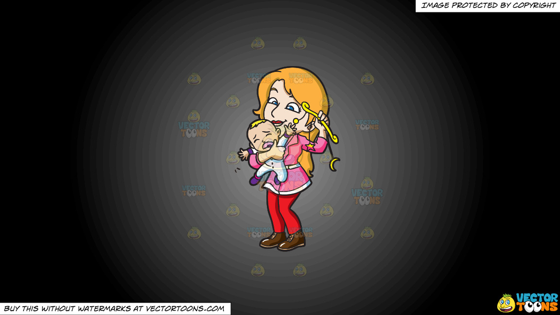 A Mother Comforting Her Crying Baby Boy With A Toy On A Grey And Black Gradient Background thumbnail