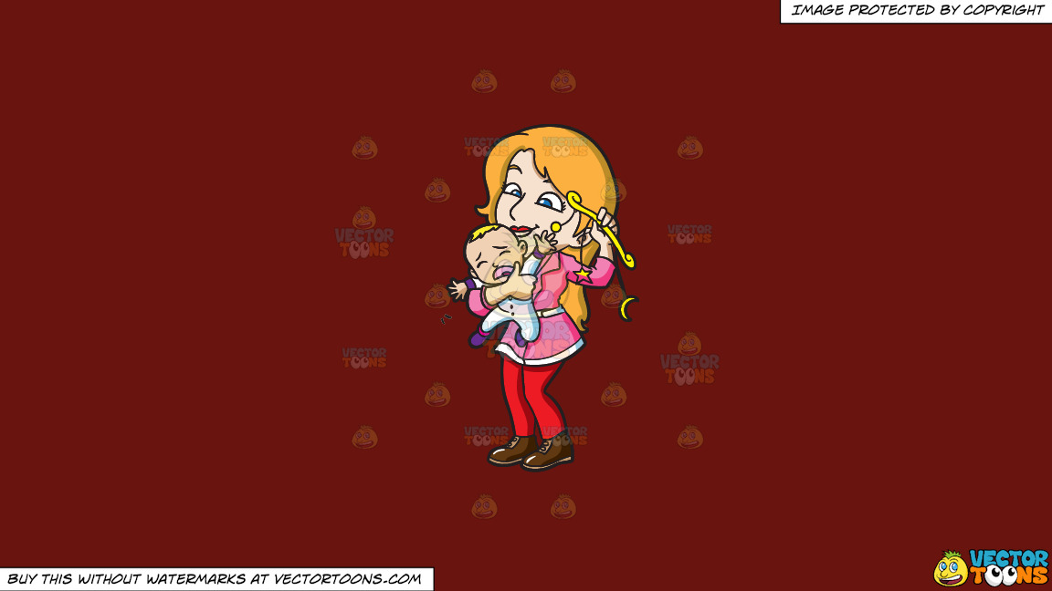 A Mother Comforting Her Crying Baby Boy With A Toy On A Solid Maroon 69140e Background thumbnail