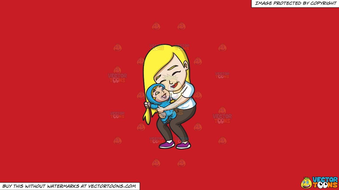 A Mother Hugging Her Cheerful Child On A Solid Fire Engine Red C81d25 Background thumbnail
