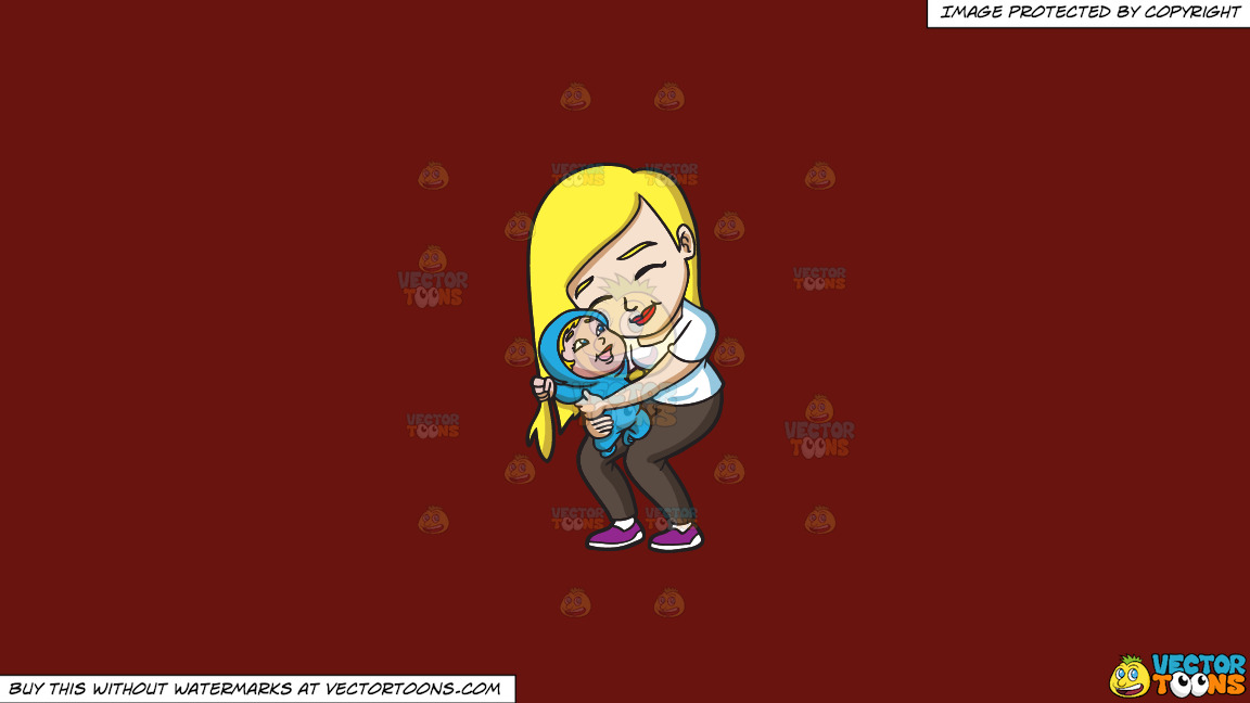 A Mother Hugging Her Cheerful Child On A Solid Maroon 69140e Background thumbnail